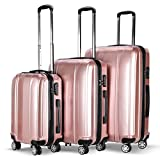 Goplus 3 Piece Luggage Set Hard Suitcases Carry On for Travel (Pink)