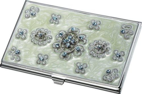 Visol Products Carmela Light Green Marble and Blue Crystals Business Card Holder