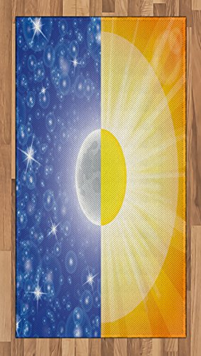 Space Area Rug by Ambesonne, Split Design with Stars in the Sky and Sun Beams Solar Balance Nature Image Print, Flat Woven Accent Rug for Living Room Bedroom Dining Room, 2.6 x 5 FT, Blue Yellow by Ambesonne