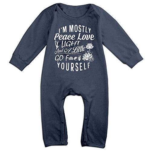 Peace & Love Plus Size Costumes (Baby Infant Romper I'm Mostly Peace Love And Light & A Little Go F Yourself Long Sleeve Jumpsuit Costume Navy 6 M)