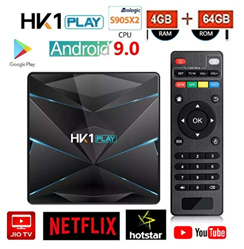RKTech™ HK1 Play 4GB RAM 64GB ROM Android 9 0  Smart TV Box Amlogic S905 X2  Quad Code Android TV Box USB3 0 Support 4K H 265 3D Set-Top Box