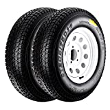 QD-719 Trailer Tires 205/75D-14 6 Ply Load C On White Rims 5 Lug/4.5'' Pack of 2