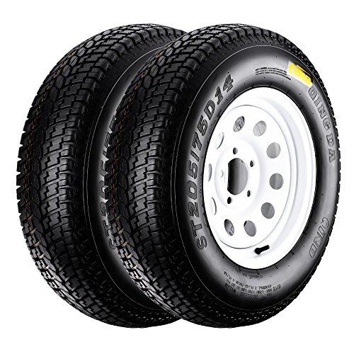QD-719 Trailer Tires 205/75D-14 6 Ply Load C On White Rims 5 Lug/4.5