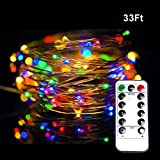 Dimmable String Lights, Aottom 33ft/10m Copper Wire LED String Lights,100 LEDs Christmas Lights with Remote Control For Garden, Patio, Wedding (Colorful)