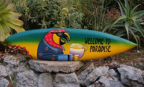 Mystika Tropical Wooden Surfboard Welcome to Paradise Parrot Wall Plaque Tiki Bar 39