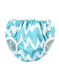 Bumkins Reusable Swim Diaper, Blue/Chevron, Large