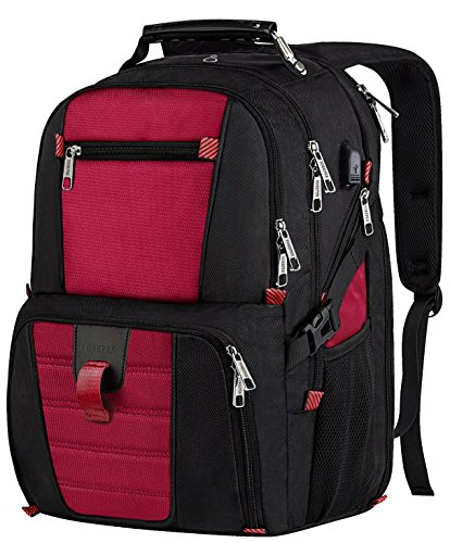 Laptop Travel Backpack, Large Capacity Computer Back Pack with Lots of Pockets,Water Repellent College Shoulder Bookbag with Usb Charging Port and Headphone Hole Fits 17 Inch Laptop,Macbook in Red by YOREPEK