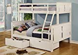 1PerfectChoice Youth Kids Bedroom Twin over Full Bunk Bed Ladder Storage Drawers Wood in White