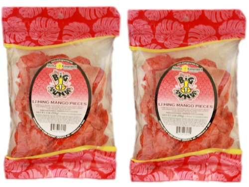 Li Hing Mango - Li Hing MANGO Pieces, Aloha Gourmet Brand, *LARGE* 2LB Total Weight (2 PACK)