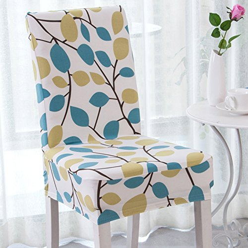 (Enova Home Modern Elegant Polyester and Spandex Stretch Washable Removable Dining Chair Slipcover, Soft and Stretchy Slipcover (4, Season Flower))