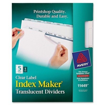 Avery Consumer Products Products - Index Label Dividers, Plastic, 5-Tab, 3HP Punched, Clear - Sold as 1 ST - Make your documents stand out. Translucent plastic dividers provide a modern design for creating professional-looking documents. Clear tab labels virtually disappear when applied to the divider tabs. Format the clear tab labels with your existing software and print using your laser or inkjet printer. Quick, easy-to-create dividers look professionally printed. Ideal for larger projects req (5 Punched Tab 3hp Plastic)
