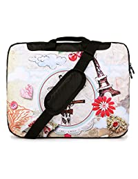 TaylorHe 15.6 inch 15 inch 16 inch Hard Wearing Nylon Colourful Laptop Shoulder Bag with Patterns, Side Pockets Handles and Detachable Strap Colourful Pinboard, Cute giraffe