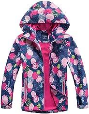 M2C Girls Floral Windbreaker Fleece Lined Jacket with Hood