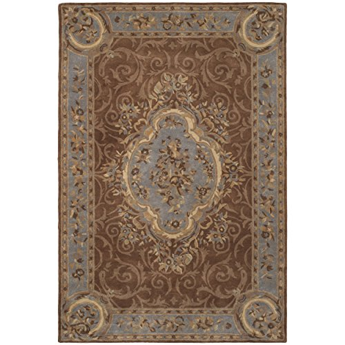 Safavieh Empire Collection EM409A Handmade Traditional European Blue and Brown Premium Wool Area Rug (6' x 9')