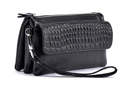 Shalwinn Women's Genuine Leather Crossbody Purse Shoulder bag Cellphone Pouch Purse Wristlet Wallet Clutch with Long Shoulder Strap and Wrist Strap (887#Black) Compartment Clutch