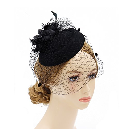e66c35f4 Lenikis Outdoor Sun Protection Hats with Mosquito Head Net Khaki · Go to  amazon.com · Wheebo Fascinator Hat Flower Feather Mesh Net Veil Party  Wedding ...