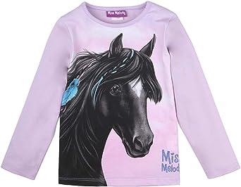 Miss Melody niñas Camiseta, T-Shirt, Manga Larga, Violeta: Amazon.es: Ropa y accesorios