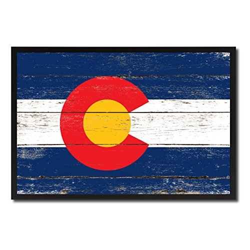 Colorado State Flag Canvas Print, Black Picture Frame Gift Ideas Home Decor Wall Art Decoration (Deco Canvas Art Print)