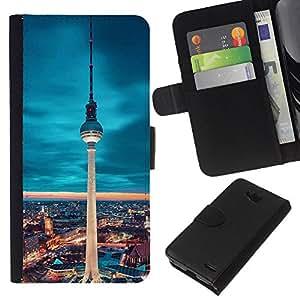 LECELL--Cuero de la tarjeta la carpeta del tirón Smartphone Slots Protección Holder For LG OPTIMUS L90 -- Berlín Torre --