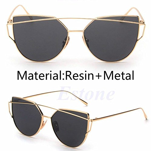 JUJU MALL-Women's Glasses Metal Flat Lens Vintage Mirrored Oversized Sunglasses -