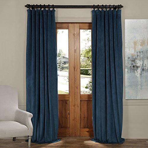 Half Price Drapes VPCH-160410-84 Signature Blackout Velvet Curtain, Twilight Blue, 50 X 84