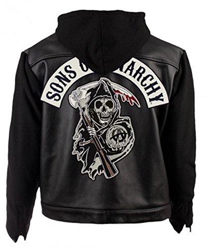 SOA Sons of Anarchy Biker Chaqueta de Piel con Capucha