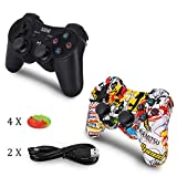 2 Pack PS3 Controller Wireless Dualshock 3 - OUBANG PS3 Remote,Best DS3 Joystick Sixaxis Gamepad for PlayStation3 (Graffiti+Black)