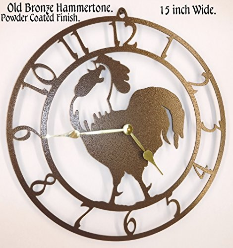Rooster Wall Clock. Handmade in USA. 15 Inch Wide. Old Bronze Color with Brass Hands. Quartz