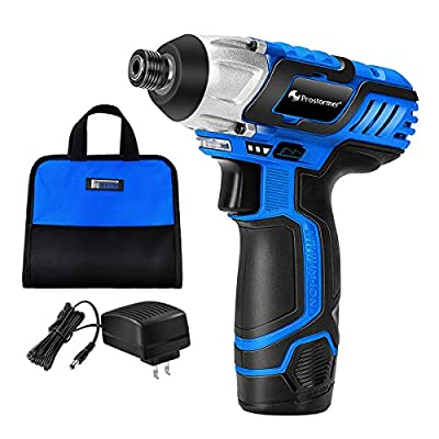 12V Lithium Cordless Drill Driver, PROSTORMER 1/4-Inch Hex Screwdriver Kit Max Torque 885 In-lbs with LED Light, 2.0Ah Battery, 1 Hour Fast Charger and Tool Bag Included