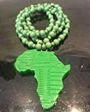 African map necklace beaded , green Africa beaded necklace