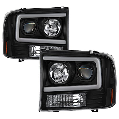 Spyder Ford F250 Super Duty 99-04 / Ford Excursion 00-04 1PC Light Bar Projector Headlights With Black Housing And Clear Lens - Excursion Projector Headlights