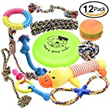 Pofar [12 Parck] Dog Toys Set with Ropes Chew Flying Squeak Frisbee Ball and Training Toys. Healthy Puppy Treats and Interactive Ropes Review