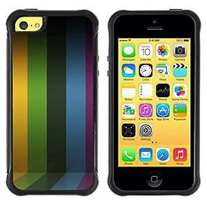 All-Round híbrido Heavy Duty de goma duro caso cubierta protectora Accesorio Generación-II BY RAYDREAMMM - Apple iPhone 5C - Lines Stripes Purple Rainbow Yellow
