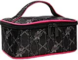 Daryl K Traincase Makeup Bag Charcoal Gray & Hot Pink Piping by Daryl K