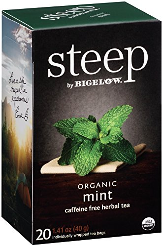 Steep by Bigelow Organic Mint Caffeine Free Herbal Tea, 20 Count