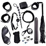EEELH SHIRT Vibrators 10Pc/Set Vibrator Bondage Fetish Mask Six Toys for Couples Anal Plug Flirt Handcuff Collar Nipple Clamp Anal Beads Vibrator,10pcs Set