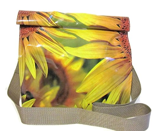 Yellow Sunflower Oilcloth Lunch Bag Snack Bag with Shoulder Strap Resuable By Philly Artful Home