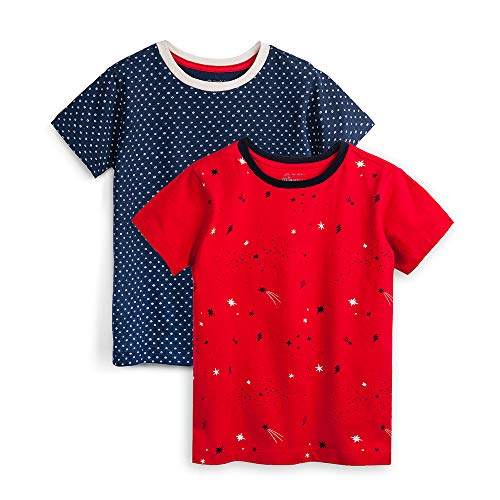 (Mightly Kids Clothing - Confetti Shirts for Girls and Boys, Organic Cotton, Large (10), Pack of 2 Red, Navy)