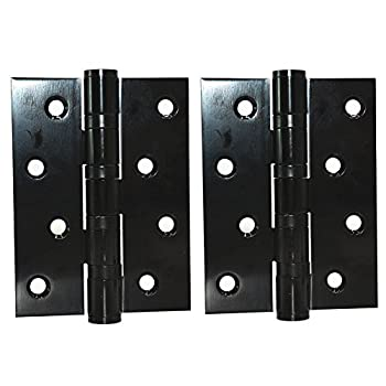"douper Heavy Duty Door Hardware Mute Ball Bearing Hinges Manganese Steel in Matted Black Finish 4"" Length (2 Pack)"