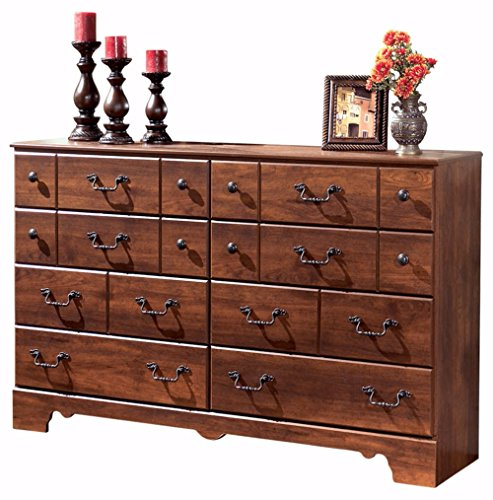 Ashley Furniture Signature Design - Timberline Dresser - 8 Drawers - Vintage Casual - Replicated Cherry Grain - Warm Brown