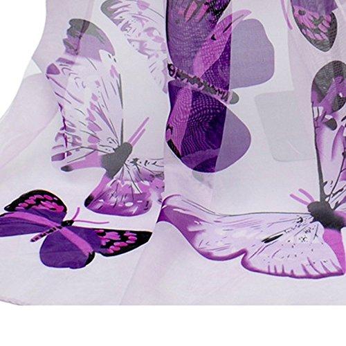 viola Aimee7 farfalla lungo stampato Sciarpa girocollo donna elegante chiffon vHrAxv8q