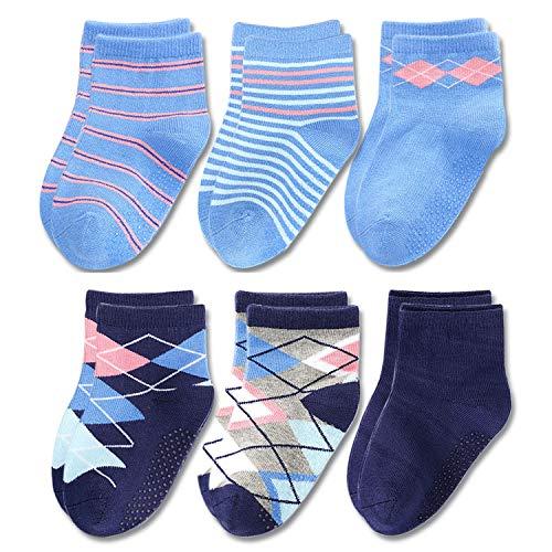 HL knitting Toddler Baby Boys Blue & Navy Combed Cotton Basic Dress Crew Socks, Anti-Slip, 2-4T (6 Pairs) 2 Pack Navy Crew Sock