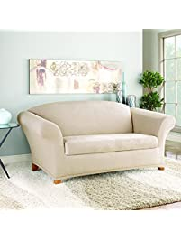 sure fit suede supreme 2piece loveseat slipcover taupe