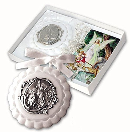 - 17' Baby Rosary with White Crib Medallion with Guardian Angel Medallion Gift Boxed