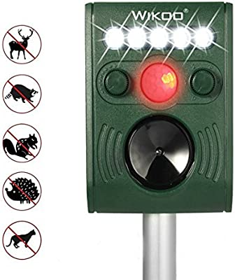Wikoo Solar Powered Ultrasonic Animal and Pests Repeller, Outdoor Weatherproof Repeller, Motion Activated with Flashing LED Light and Ultrasonic Sound to ...
