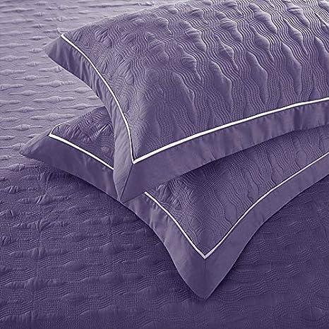 UMOOIN Dessus de lit en Coton matelass/é en serg/é 245 * 250 cm Violet,Beige Couvre-lit King Size literie de Couleur Unie 3 pi/èces avec 2 taies doreiller Ensembles de Couvre-lit Double