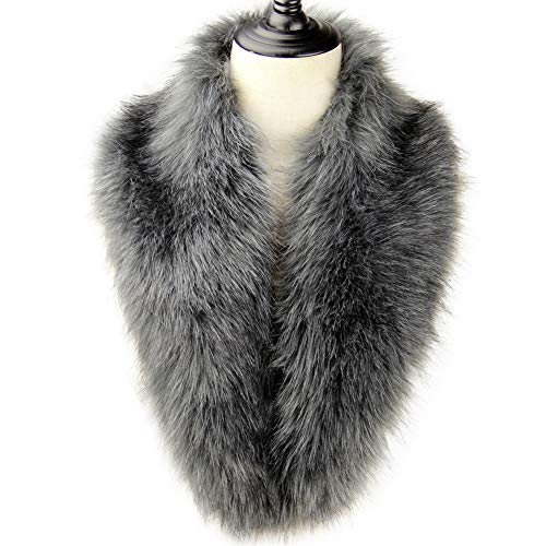 Dikoaina Extra Large Women's Faux Fur Collar for Winter Coat,Silver Grey,120cm