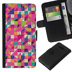 Planetar® Modelo colorido cuero carpeta tirón caso cubierta piel Holster Funda protección Para Samsung Galaxy Core Prime / SM-G360 ( Ski Colorful Pink Pattern )