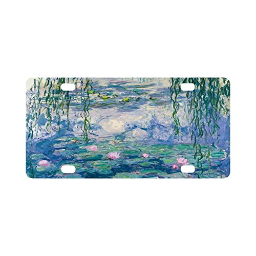 """Price comparison product image Claude Monet's Painting Durable Metal License Plate Frame for Women / Men Four Holes Car Tag (New) 12"""" X 6"""""""