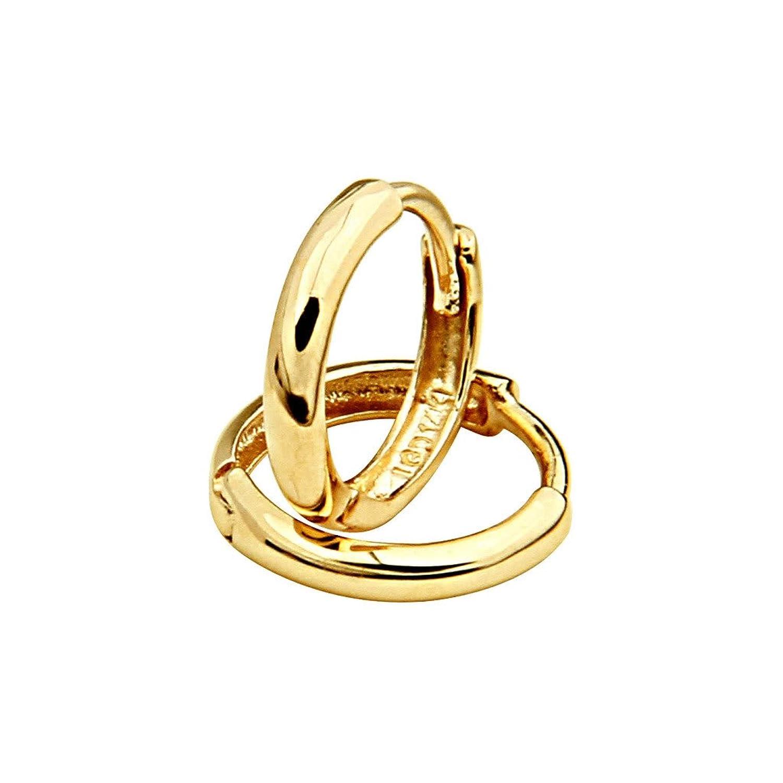 amazoncom 14k yellow gold 2mm thickness hoop huggie earrings 11 x 11 mm hoop earrings jewelry